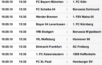Bundesliga Calendario.Calendario Y Fechas De La 1 Bundesliga Alemana 2010 2011